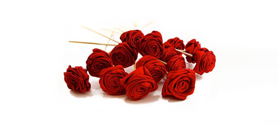 blotters textiles rose rouge sur tige en bois parfumé