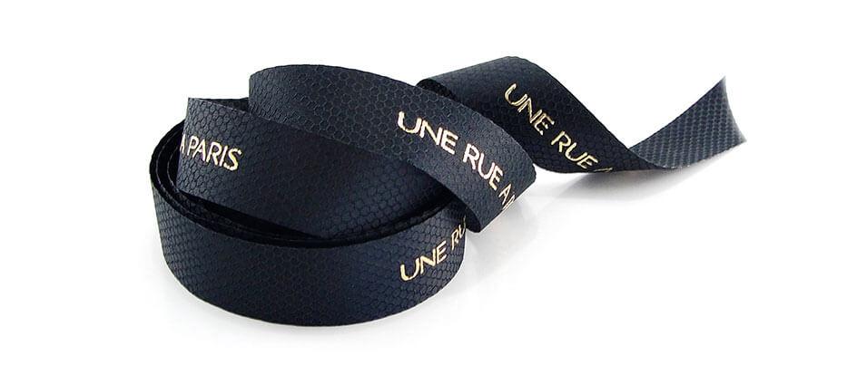 ruban noir imprimé or avec texture personnalisée en fond