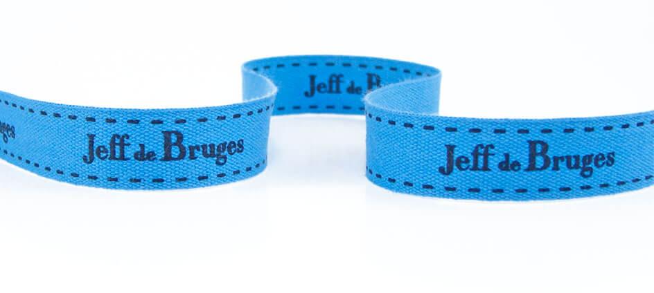 ruban coton bleu imprimé Jeff de Bruges