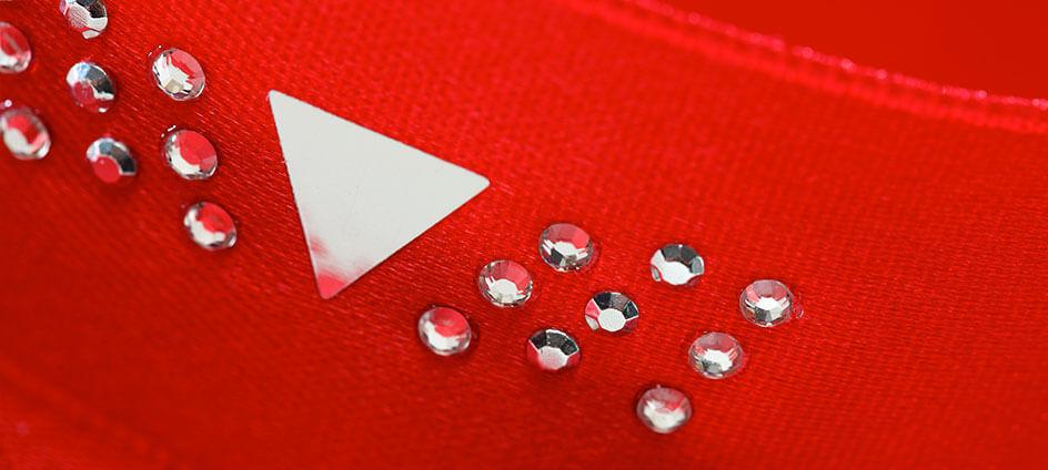 ruban satin imprimé personnalisé rouge strass