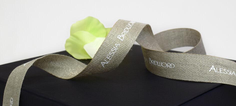 ruban personnalisé lin imprimé encre oekotex blanche