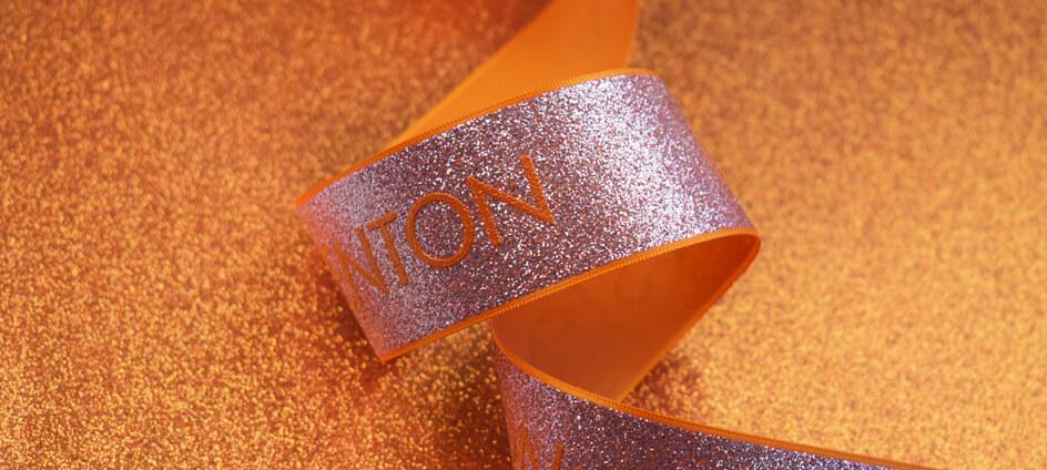 ruban packaging paillete orange uma stenton